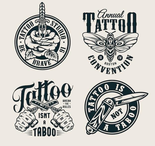 Logotipos do estúdio de tatuagem vintage Vetor grátis