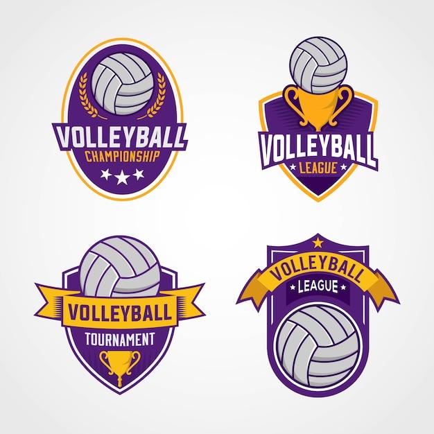 Logotipos do torneio de voleibol Vetor Premium