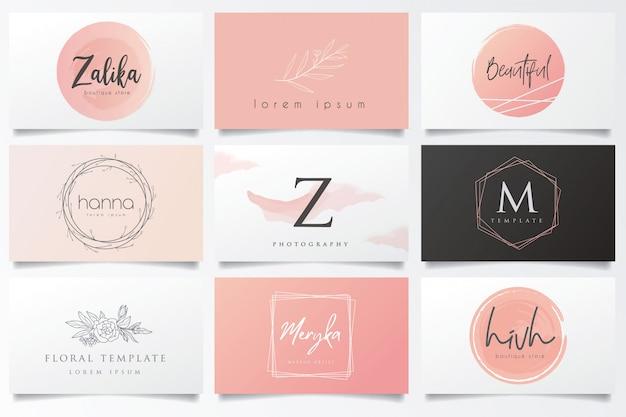 Logotipos e cartões de visita pendentes Vetor Premium