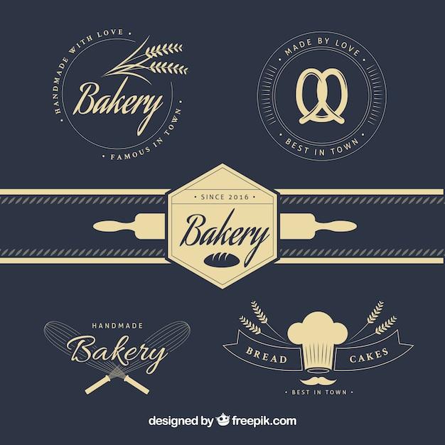 Logotipos elegantes da padaria do vintage Vetor grátis