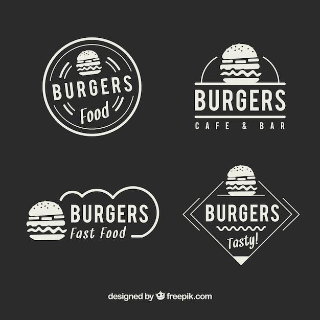 Logotipos elegantes do fast food do restaurante do vintage Vetor grátis