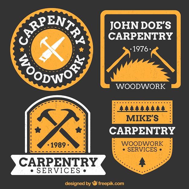 Logotipos laranja para carpintaria Vetor grátis