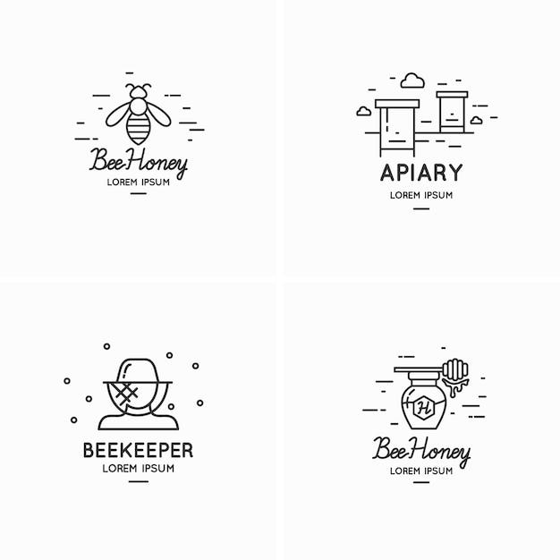 Logotipos lineares modernos para ilustração de apicultores Vetor Premium