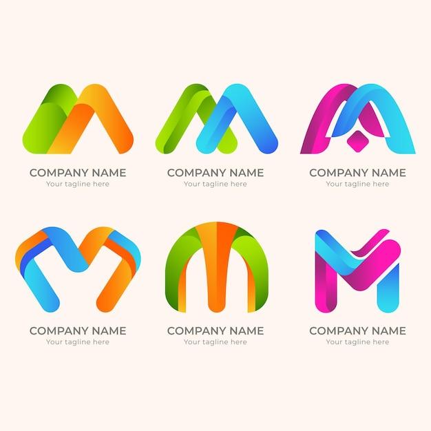 Logotipos m criativos detalhados Vetor Premium