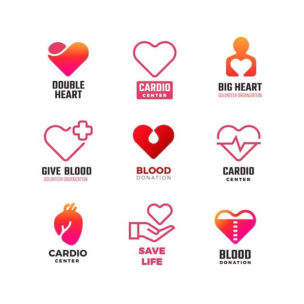 Logotipos médicos de cardiologia e doação de sangue Vetor Premium