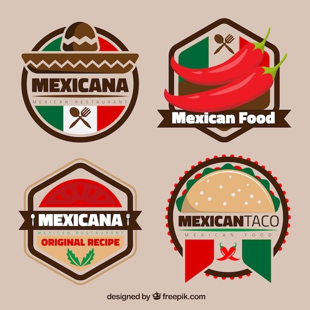 Logotipos mexicanos coloridos para restaurantes Vetor Premium