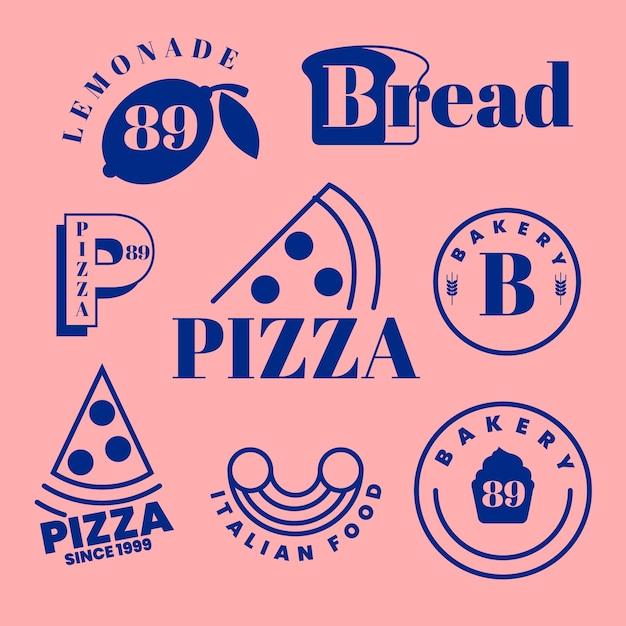 Logotipos minimalistas de padaria e pizza Vetor grátis