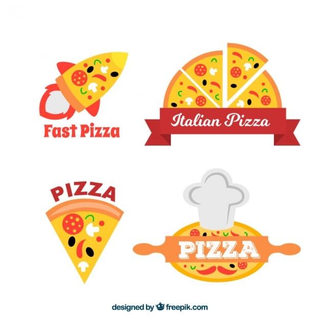 Logotipos pizzeria definir Vetor grátis