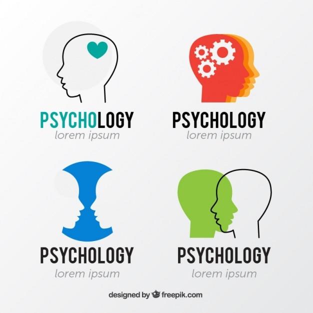 Logotipos psicologia com silhuetas de cabeça Vetor grátis