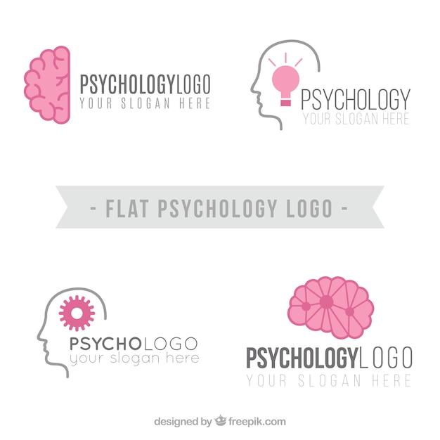 Logotipos psicologia planas com detalhes rosa Vetor grátis