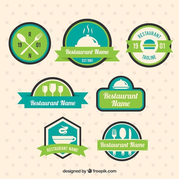 Logotipos restaurante, cores verdes Vetor grátis