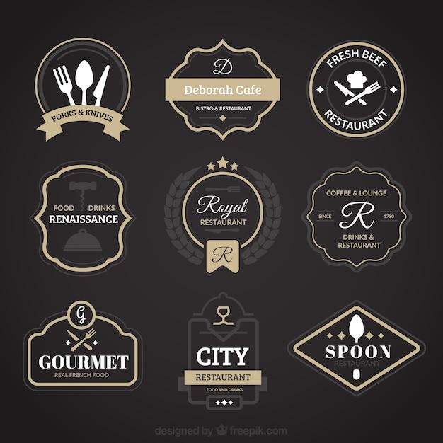 Logotipos restaurante do vintage Vetor grátis
