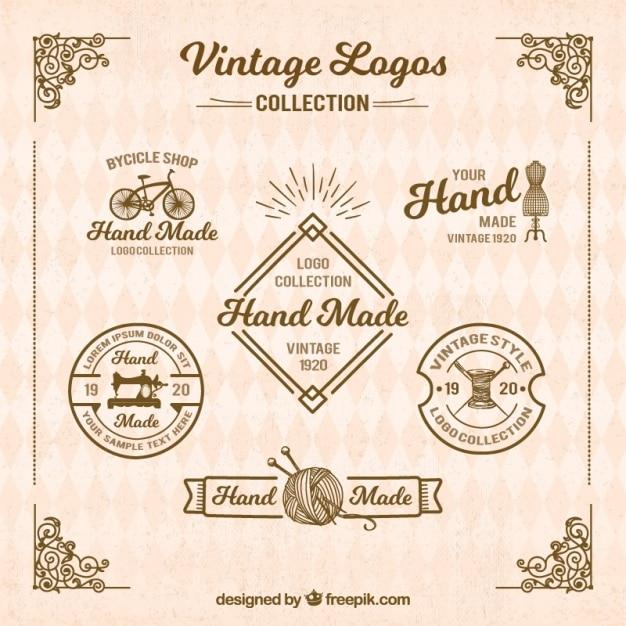 Logotipos retro para artesanato Vetor grátis