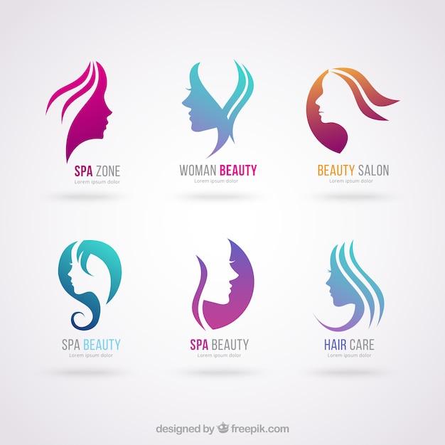 Logotipos salão de beleza Vetor Premium