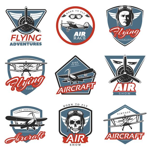 Logotipos vintage coloridos de aeronaves Vetor grátis