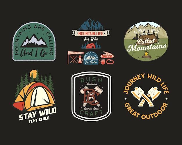 Logotipos vintage de remendos de acampamento, conjunto de emblemas de montanha Vetor Premium