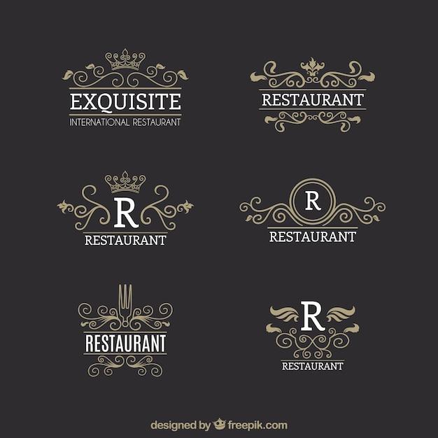 Logotipos vintage para restaurantes gourmet Vetor grátis