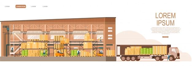 Loja aberta do armazém que entrega o caminhão na frente Vetor Premium