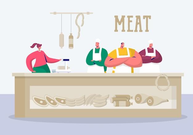 Loja de açougueiro estande em produto de carne local. Vetor Premium