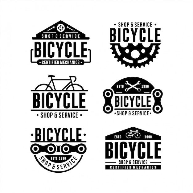Loja de bicicletas e design de logotipo de serviço Vetor Premium