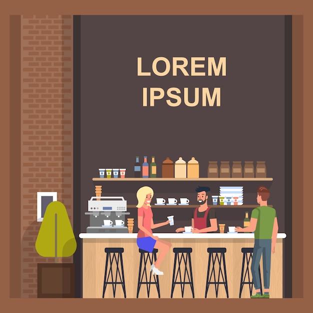 Loja de café com barista e visitantes Vetor Premium