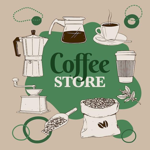 Loja de café Vetor Premium