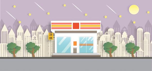 Loja de conveniência aberta durante a noite em estilo de corte de papel Vetor Premium