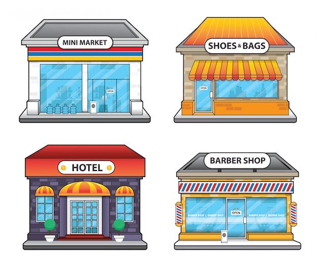 Loja de conveniência hotel e barbearia edifício ilustração Vetor Premium