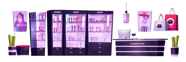 Loja de cosméticos com produtos para maquiagem, cuidados com a pele e perfumes em vitrines. conjunto de interiores de desenho vetorial de loja de beleza com caixa no balcão, prateleiras com mercadorias, Vetor grátis
