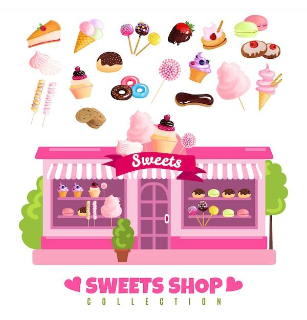 Loja de doces coleção de doces Vetor grátis