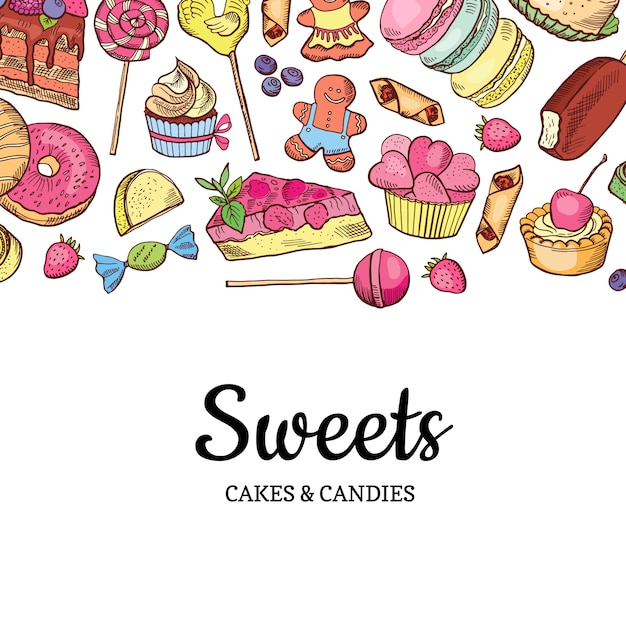 Loja de doces coloridos de mão desenhada Vetor Premium