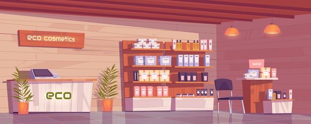 Loja de eco cosméticos com vitrine de produtos naturais para maquiagem, cuidados com a pele e perfumes. Vetor grátis
