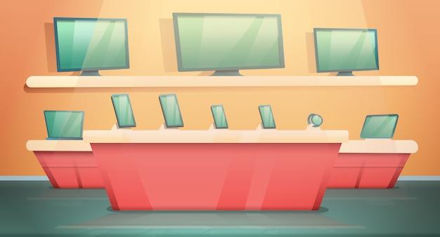 Loja de eletrônicos de desenhos animados com computadores e telefones, ilustração vetorial Vetor Premium