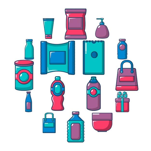 Loja de embalagens loja conjunto de ícones, estilo simples Vetor Premium