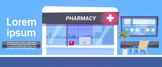 Loja de farmácia no modelo exterior de loja de farmácia moderna hospital Vetor Premium