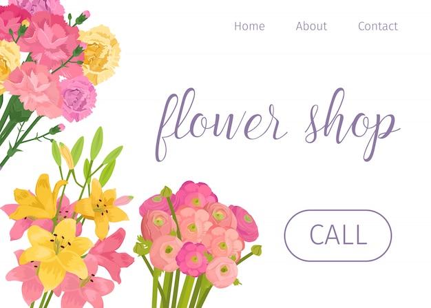Loja de flores de primavera. floristas armazenam página da web com concurso de decoração floral rosa e amarela. Vetor Premium