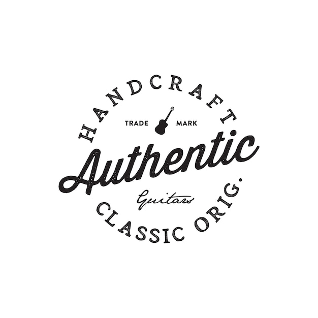 Loja de guitarras escrito à mão lettering logotipo Vetor Premium