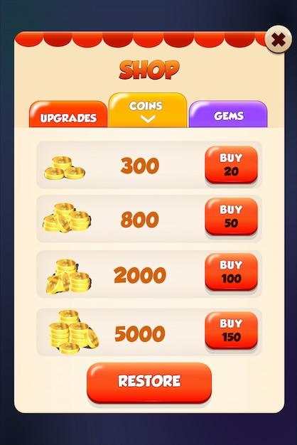 Loja de mercado e loja de aplicativos de cena pop-up menu Vetor Premium