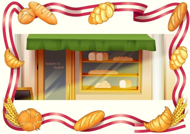 Loja de padaria, padaria e vetor de moldura de fita Vetor Premium