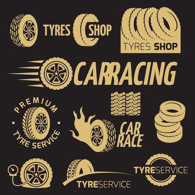 Loja de pneus de borracha de automóveis, roda de carro, logotipos de vetor de corrida e conjunto de rótulos Vetor Premium