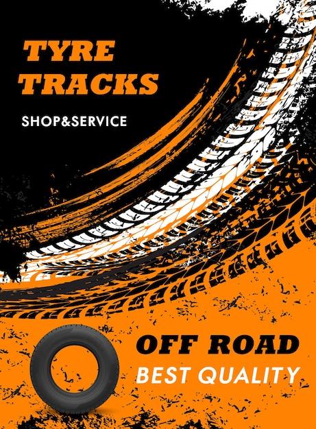 Loja de pneus de carros off-road e pôster de serviço Vetor Premium