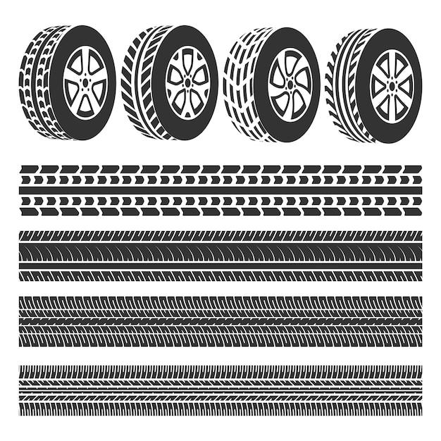 Loja de pneus, vetor de conjunto de faixas de pneu Vetor Premium