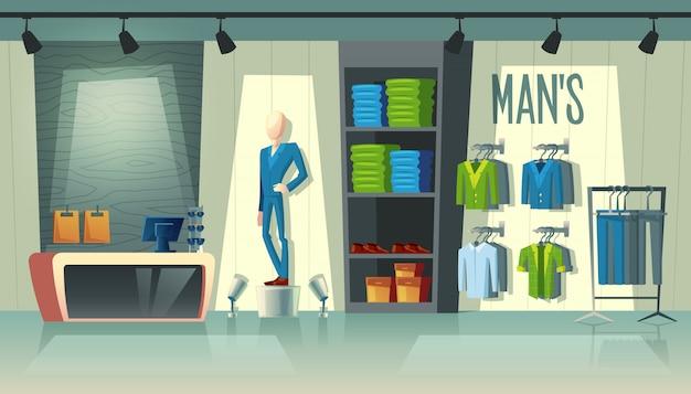Loja de roupas de homem - guarda-roupa com ternos, manequim de desenho animado em traje e outras coisas em cabides. Vetor grátis