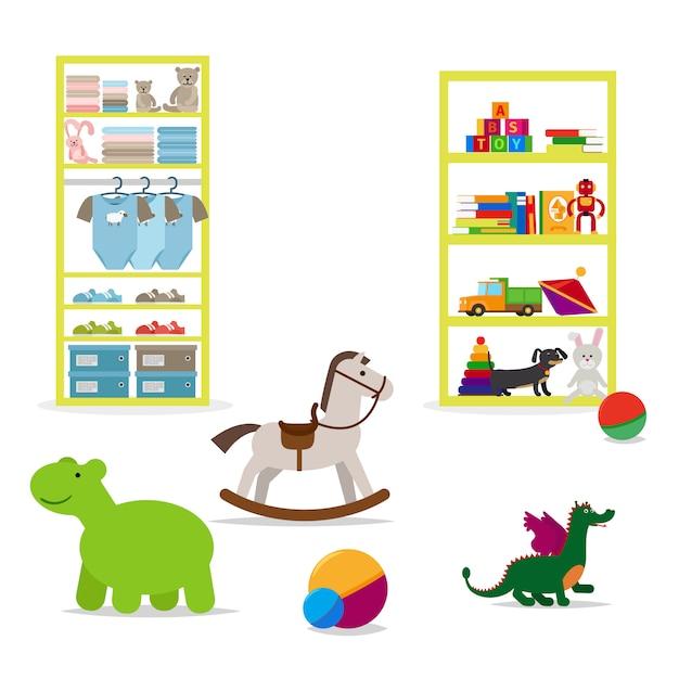 Loja de roupas para crianças e brinquedos Vetor Premium