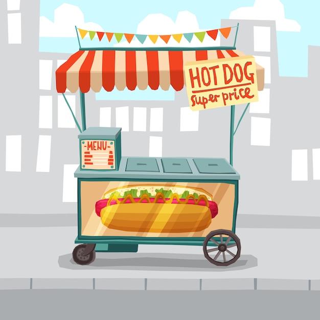 Loja de rua de cachorros-quentes Vetor grátis