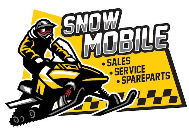 Loja de snowmobile e design de logotipo de garagem Vetor Premium