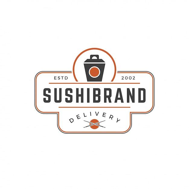Loja de sushi logotipo modelo silhueta de caixa de macarrão japonês com ilustração em vetor tipografia retrô Vetor Premium