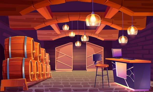 Loja de vinhos, interior da adega com barris de madeira Vetor grátis