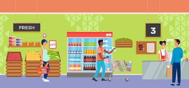 Loja interior do supermercado com o caixa e o comprador do caráter dos povos. Vetor grátis