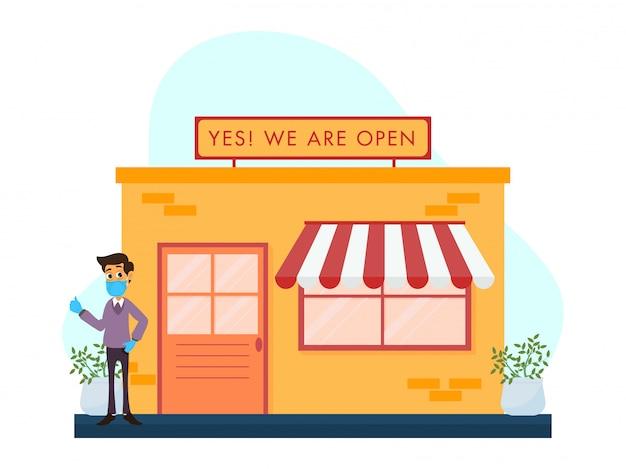 Loja, lojas reabrindo conceito após pandemia. Vetor Premium